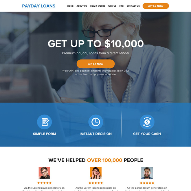 minimal and clean payday loan html website design Payday Loan example