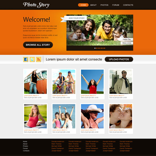 clean and professional website template psd design for photographers website Website Template PSD example