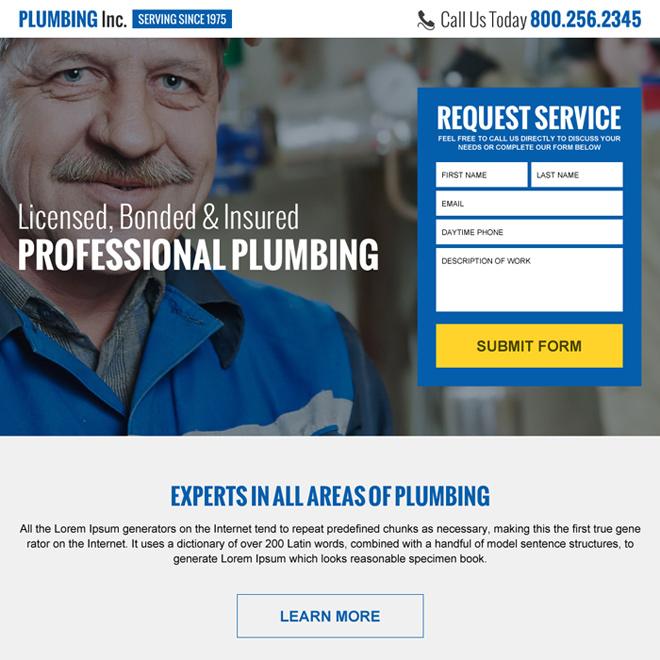 professional plumbing lead generating landing page Plumbing example