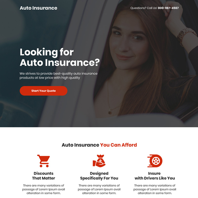 best quality auto insurance free quote clean landing page Auto Insurance example