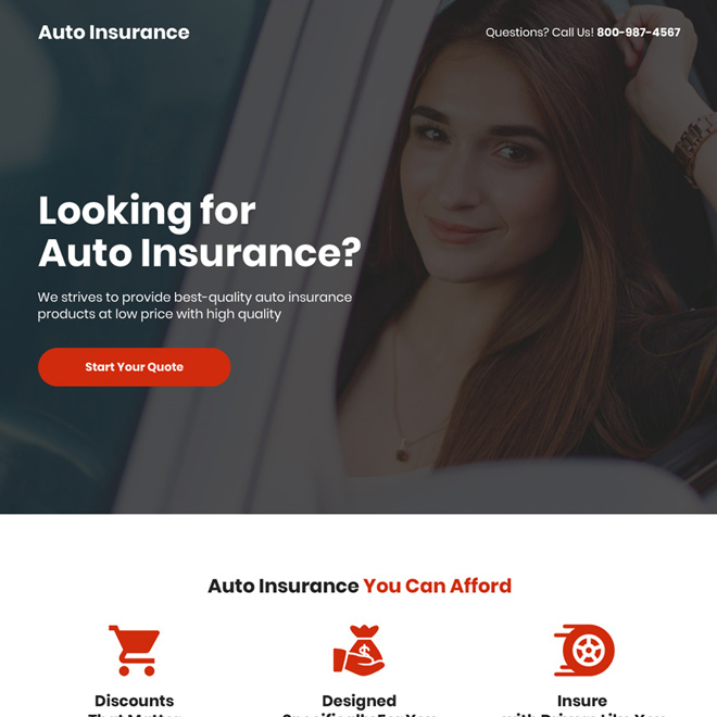 best quality auto insurance free quote capturing responsive landing page Auto Insurance example
