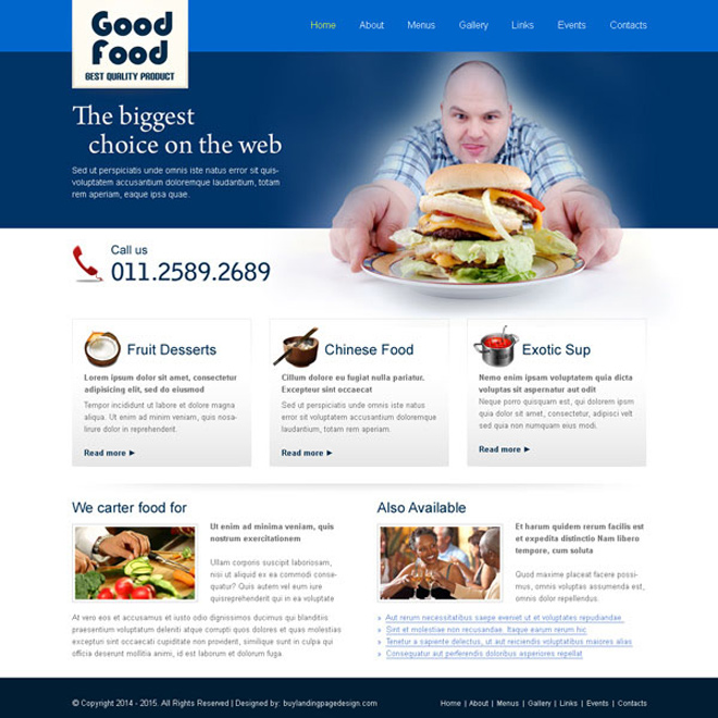 clean and converting best quality food product website template design Website Template PSD example