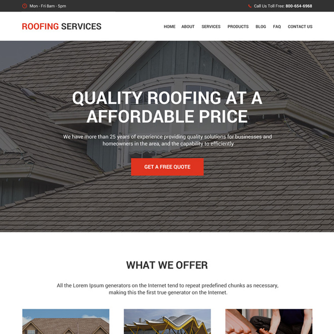 quality roofing service modern and clean website design Roofing example