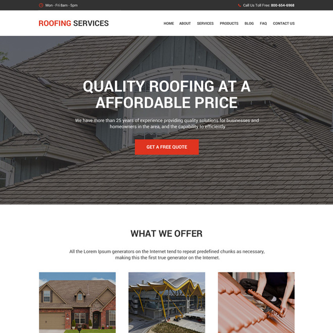 best roofing services responsive website design Roofing example