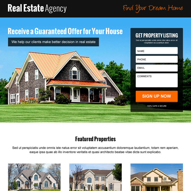 best real estate video responsive lead gen landing page design Real Estate example