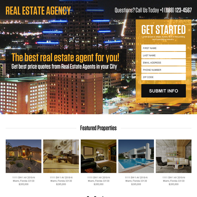 best real estate agent lead capturing landing page design Real Estate example