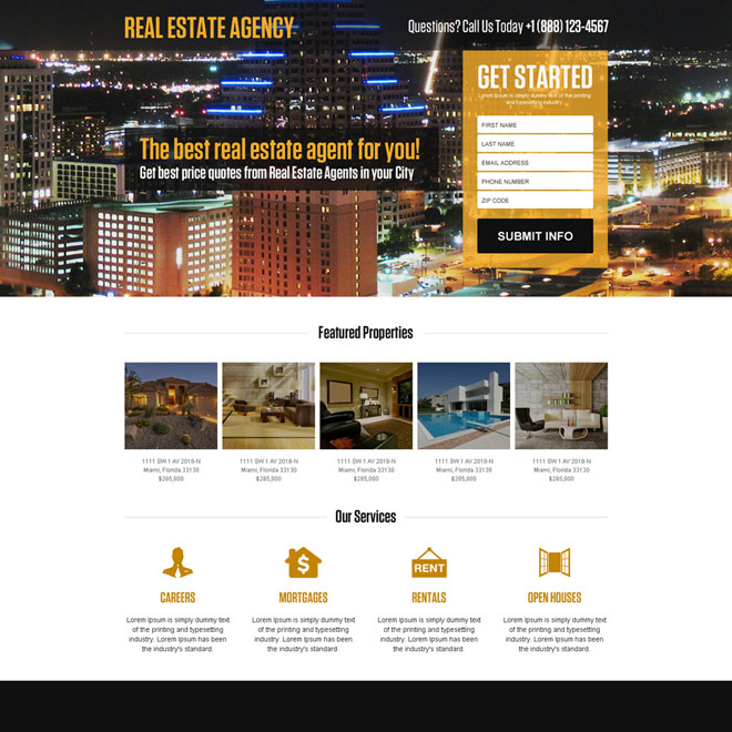 real estate agent mini responsive landing page design Real Estate example