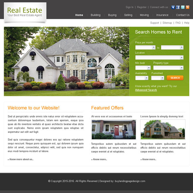 best real estate agent website template design psd Website Template PSD example