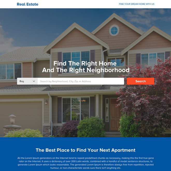 best real estate call to action landing page design Real Estate example