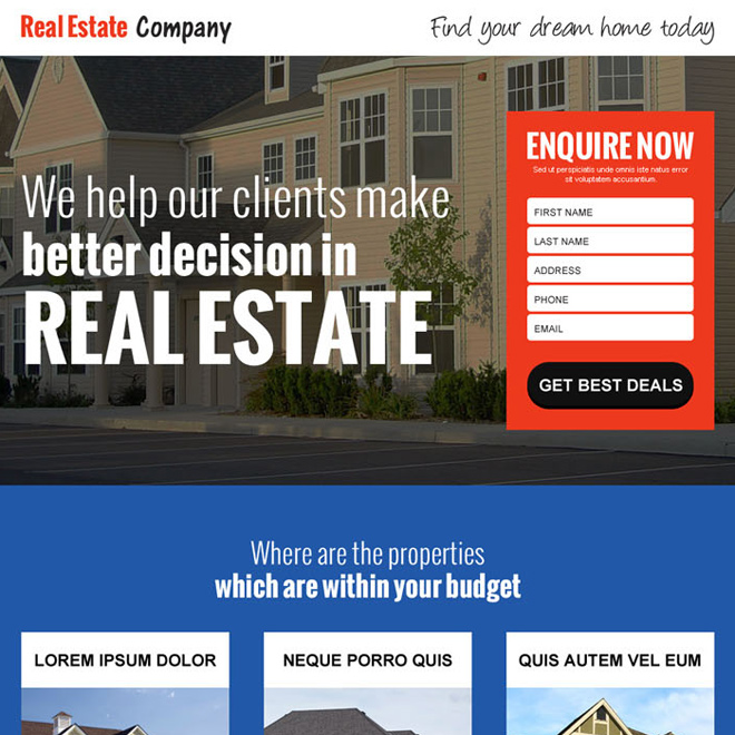 real estate company small lead capture landing page design Real Estate example