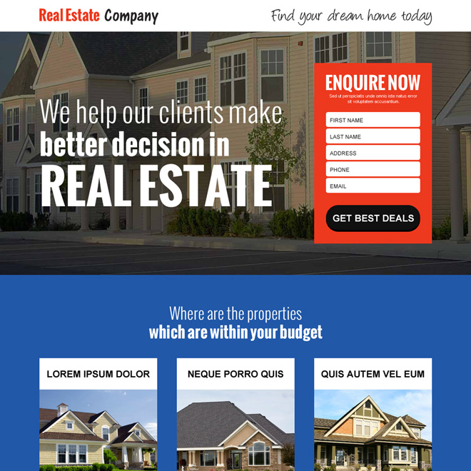 best real estate company responsive landing page design Real Estate example