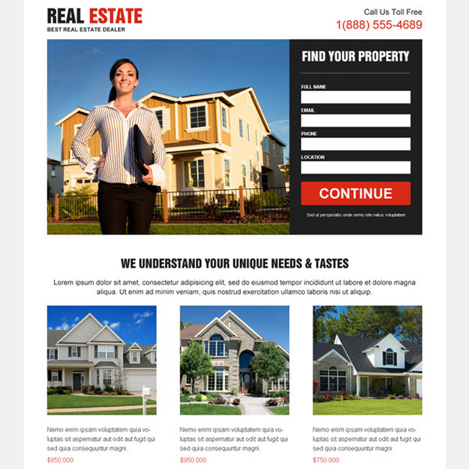 clean effective minimal and converting real estate lead capturing landing page Real Estate example