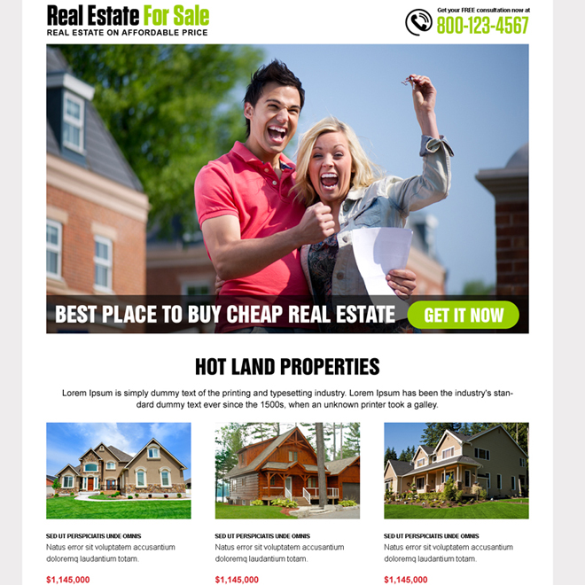best real estate for sale landing page design Real Estate example
