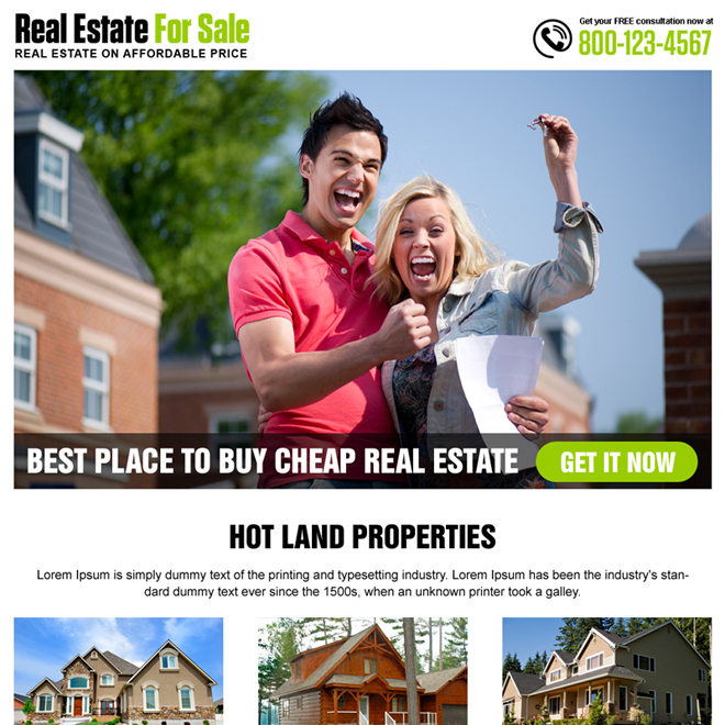 best real estate listing responsive landing page design Real Estate example