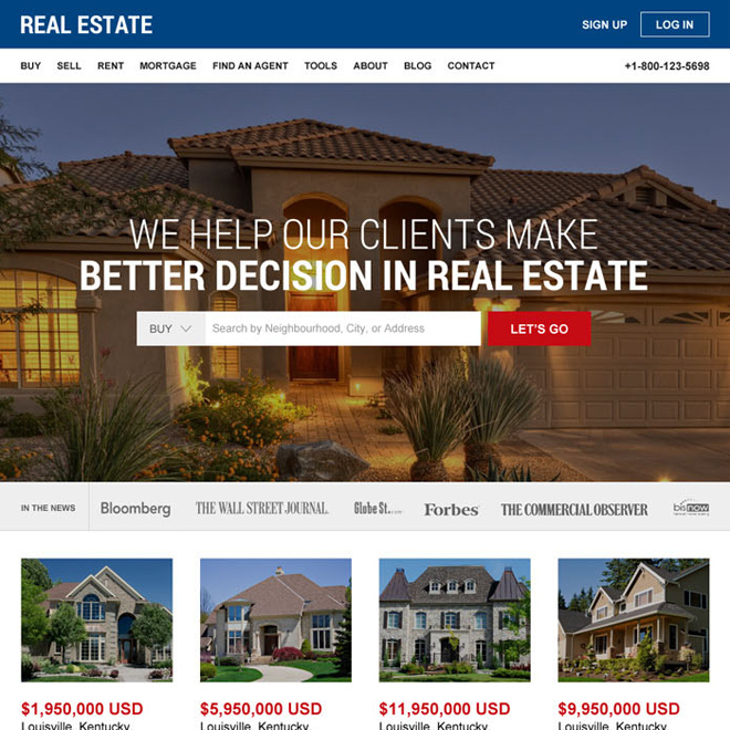 best real estate html website template design Real Estate example