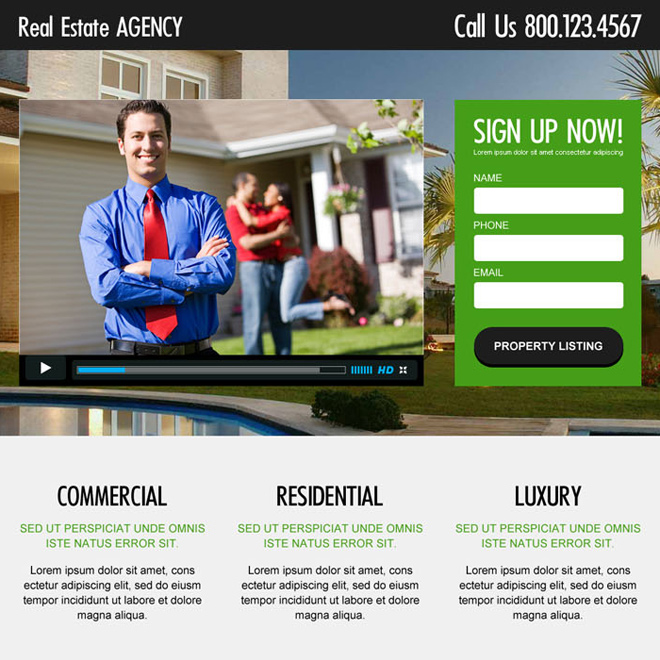 best real estate video responsive lead capture landing page design Real Estate example