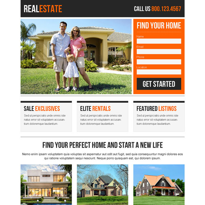 best real estate clean and appealing lead capture responsive landing page design Real Estate example