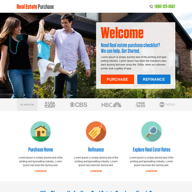 best real estate purchase and finance landing page design Real Estate example