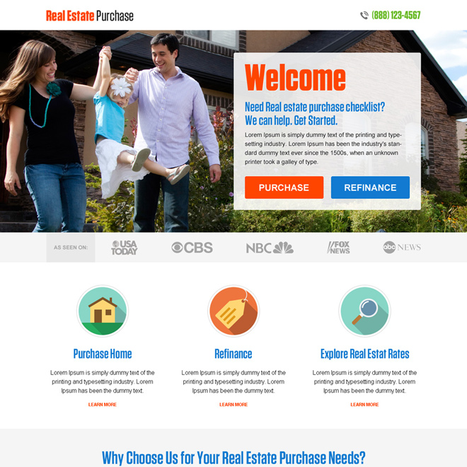 best real estate purchase and refinance responsive landing page Real Estate example