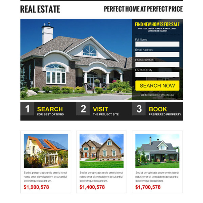 clean and professional real estate lead generating landing page design template Real Estate example