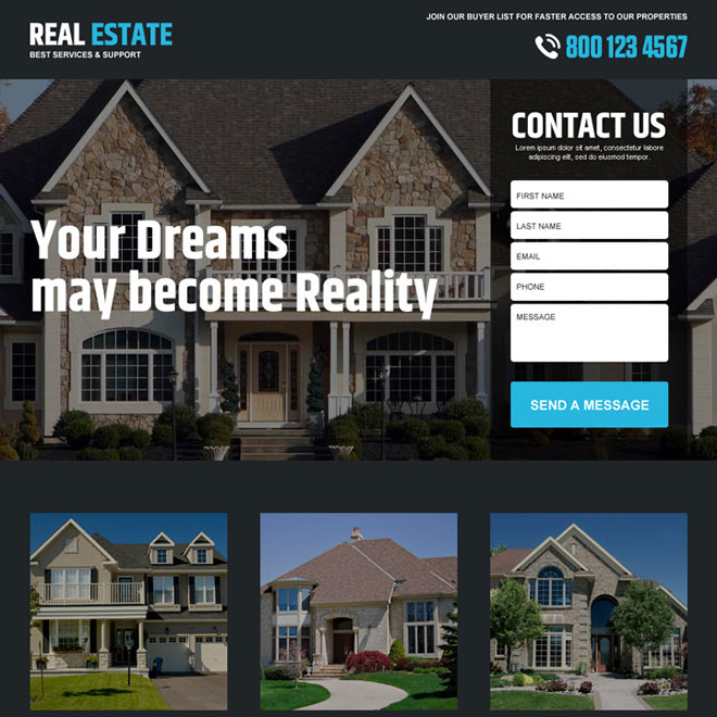 best real estate service lead gen responsive landing page design Real Estate example