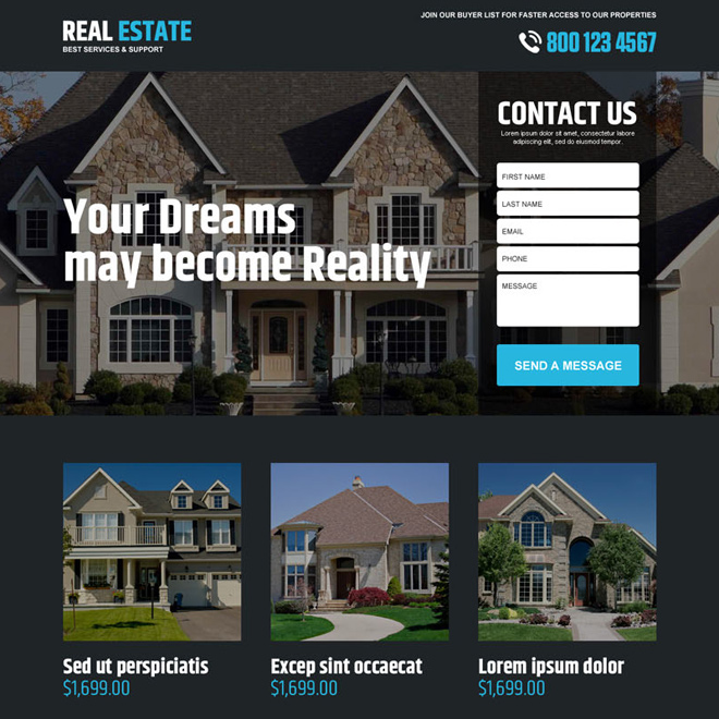 best real estate service support landing page design Real Estate example