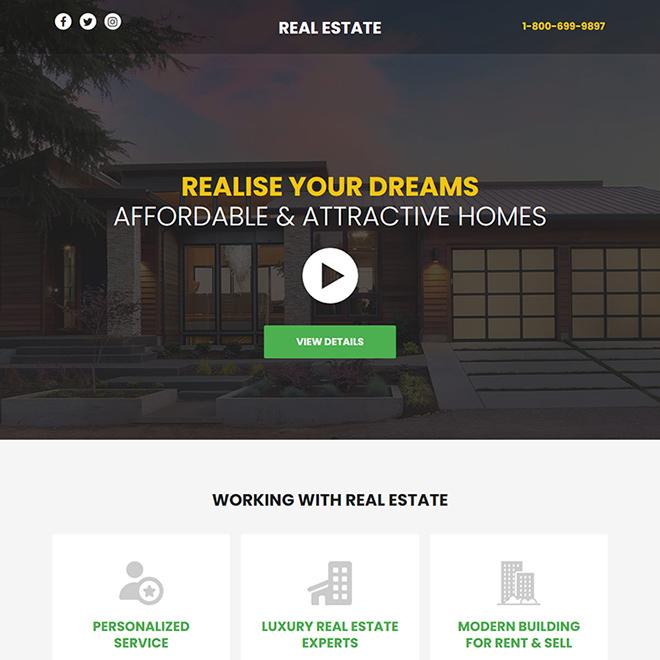 best real estate responsive video funnel design Real Estate example