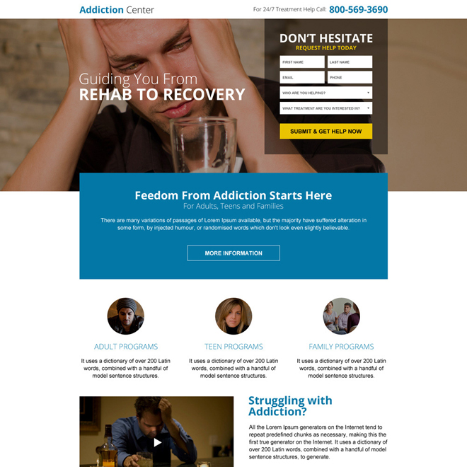 best rehabilitation center responsive mini landing page design Medical example