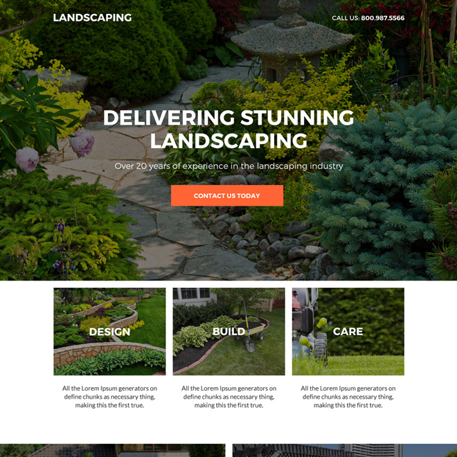 residential and commercial landscaping service responsive landing page Home Improvement example