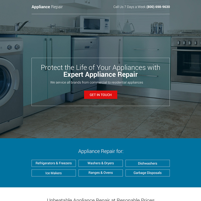 commercial and residential appliance repair bootstrap landing page Appliance Repair example