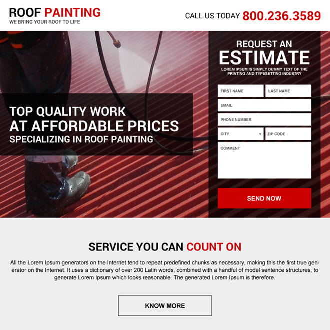 best roof painting service landing page design Roofing example