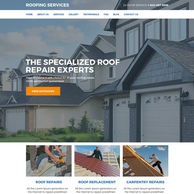 roof replacement and repair services website design Roofing example