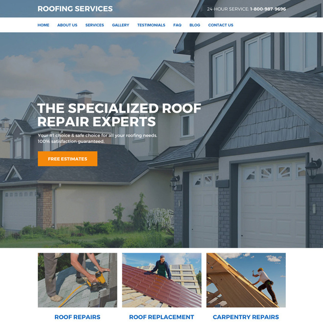 roof repair and replacement services responsive website design Roofing example