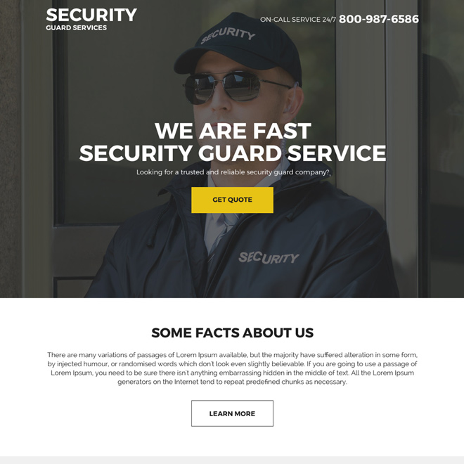 security guard services landing page design Security example