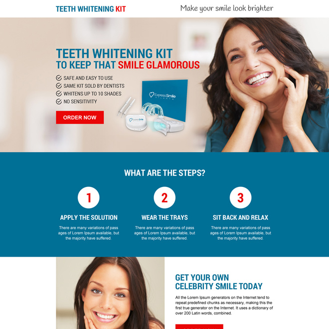 best selling teeth whitening kit selling call to action responsive landing page Teeth Whitening example