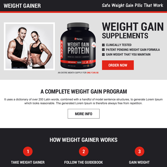 best selling weight gain supplements landing page design Weight Gain example