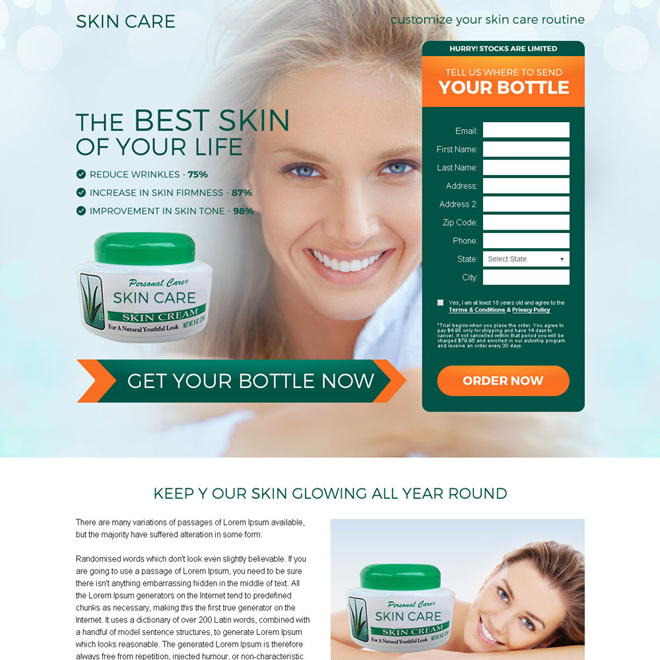 eye catching skin care cream selling bank page design Bank Page example