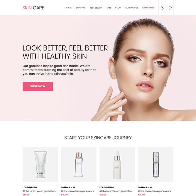 skin care products selling best responsive website design Skin Care example