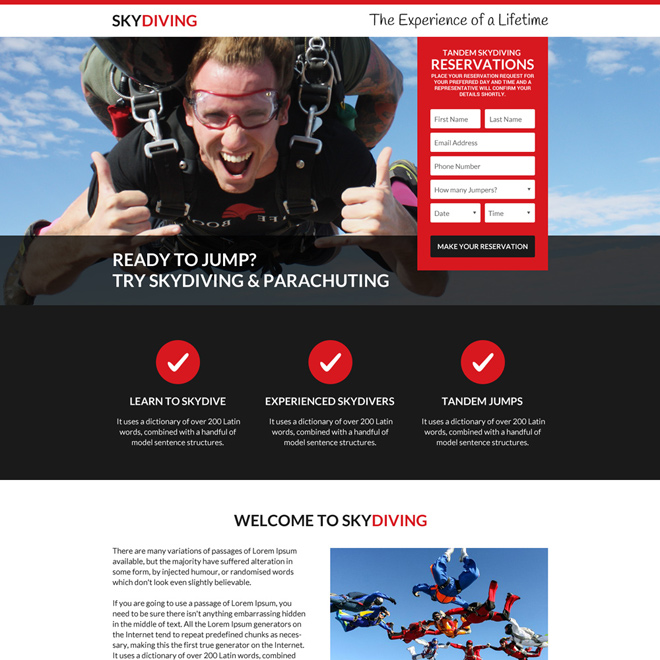 best skydiving online reservations landing page design Sports example