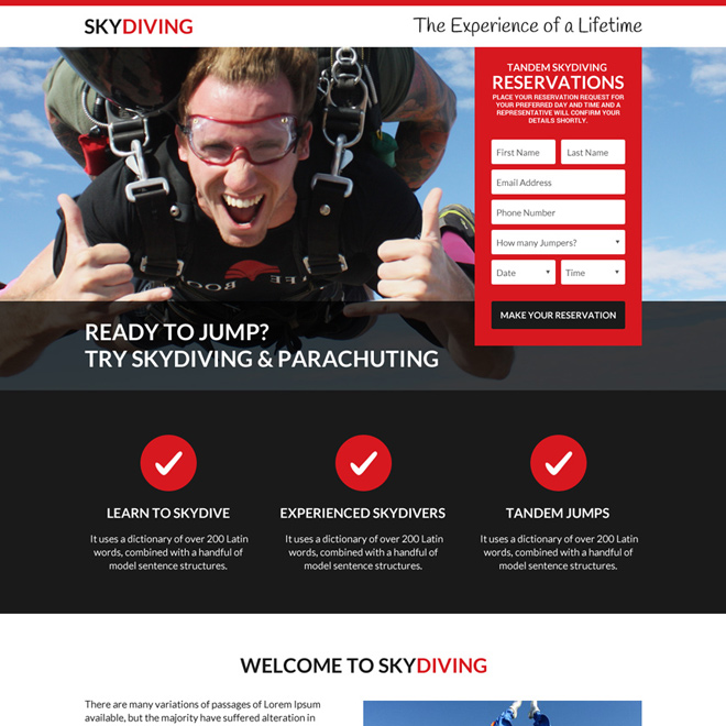 best skydiving responsive landing page design Sports example