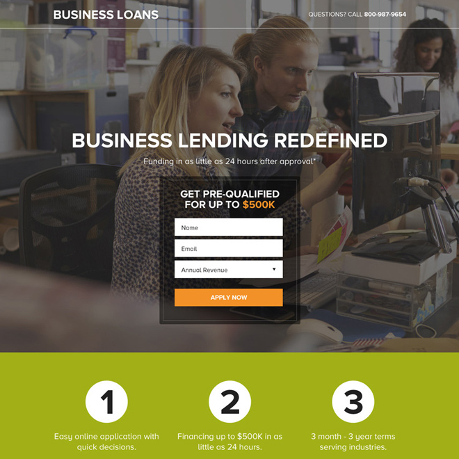 small business loan lending responsive landing page design Business Loan example