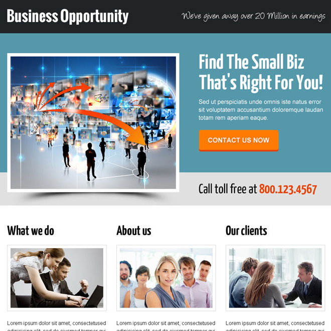 delightful and professional small business opportunity call to action landing page design template Business Opportunity example