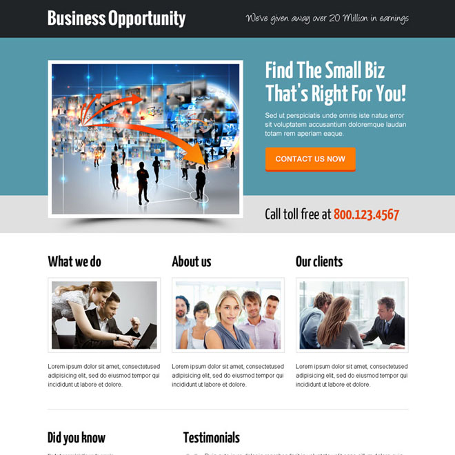 best small business responsive call to action responsive landing page design Business example