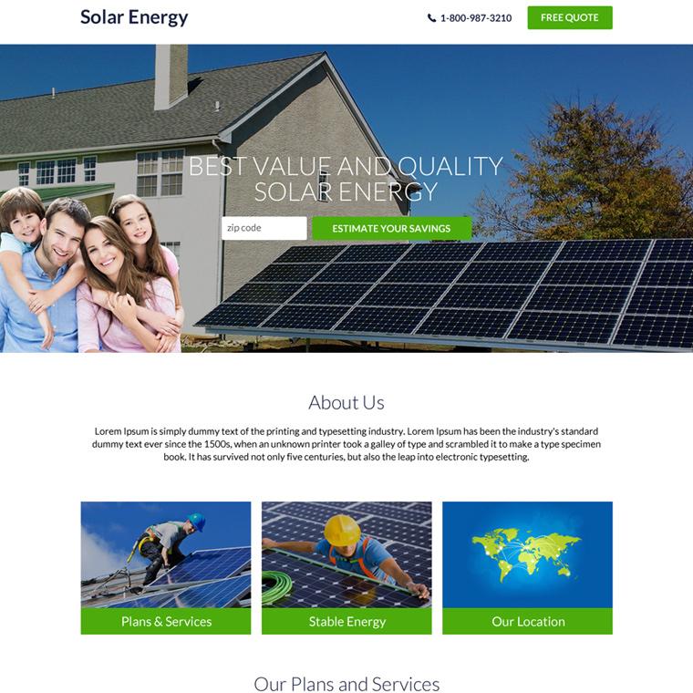 best solar energy professional lead capture landing page design Solar Energy example