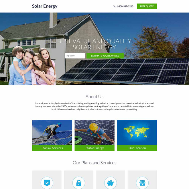 best solar energy companies responsive landing page Solar Energy example