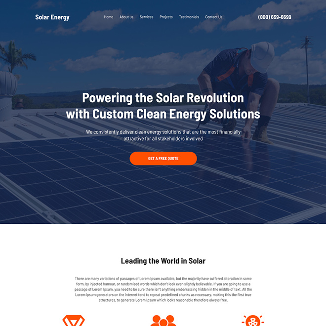 solar energy solutions free quote lead capturing website design Solar Energy example