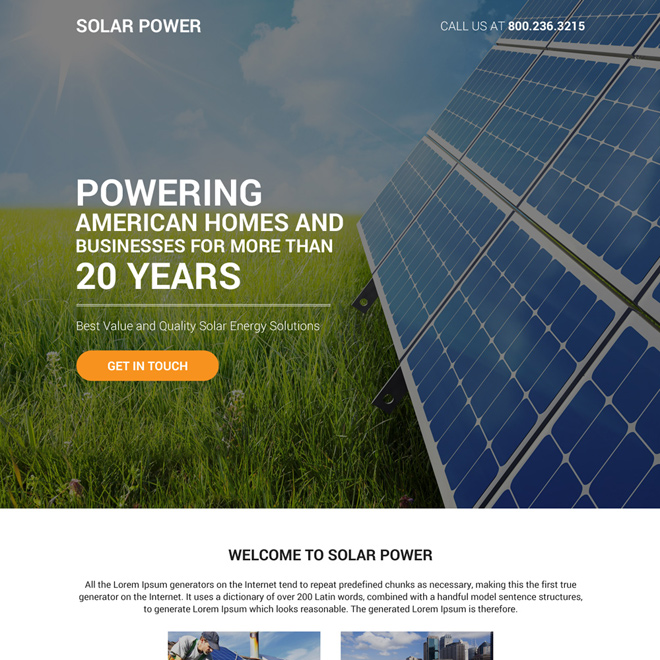 quality solar energy solutions bootstrap landing page design Solar Energy example