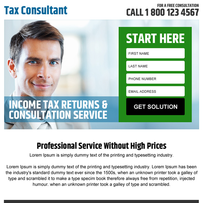 income tax returns and consultation service ppv landing page Tax example