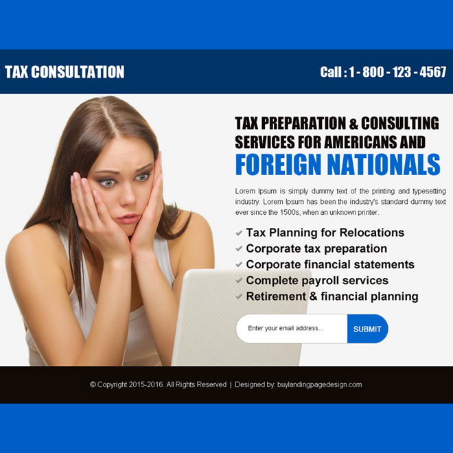 best tax service lead generating ppv landing page design Tax example