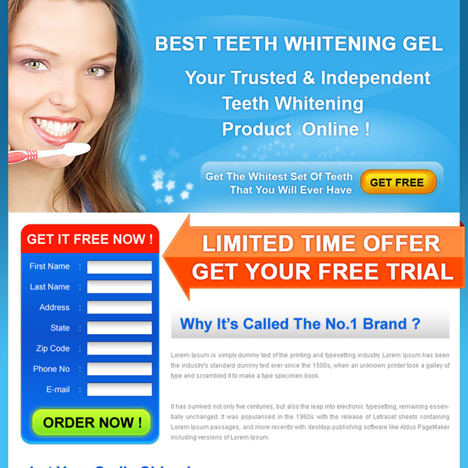 best teeth whitening gel product limited time trial offer landing page design for sale Teeth Whitening example